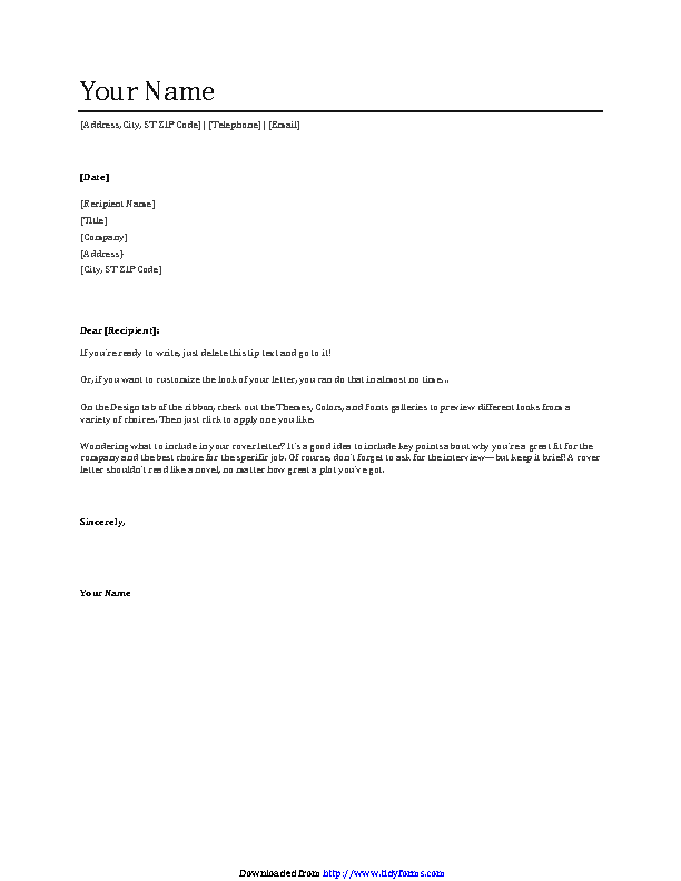 General Cover Letter Template 3
