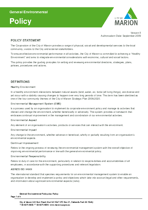 General Environmental Policy