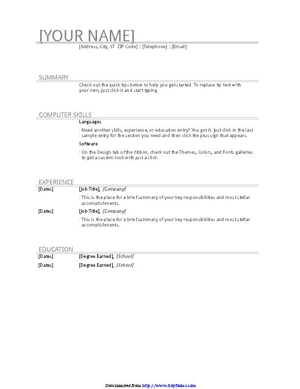 General Resume Template 1