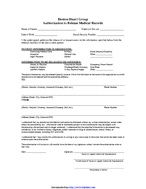 Generic Authorization To Release Medical Records Form