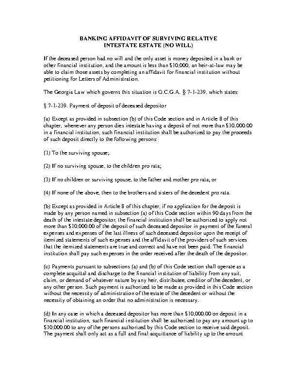 Georgia Bank Accounts Only Small Estate Affidavit Form