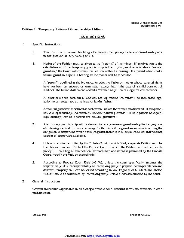 Georgia Child Custody Form
