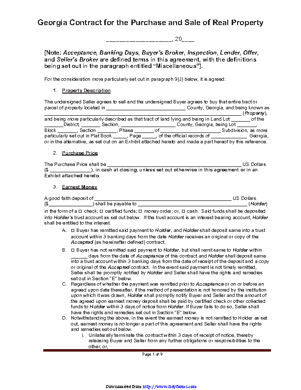 Georgia Contract For The Purchase And Sale Of Real Property