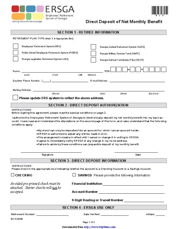 Georgia Direct Deposit Form 1