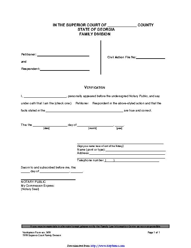 Georgia Divorce Form Verification