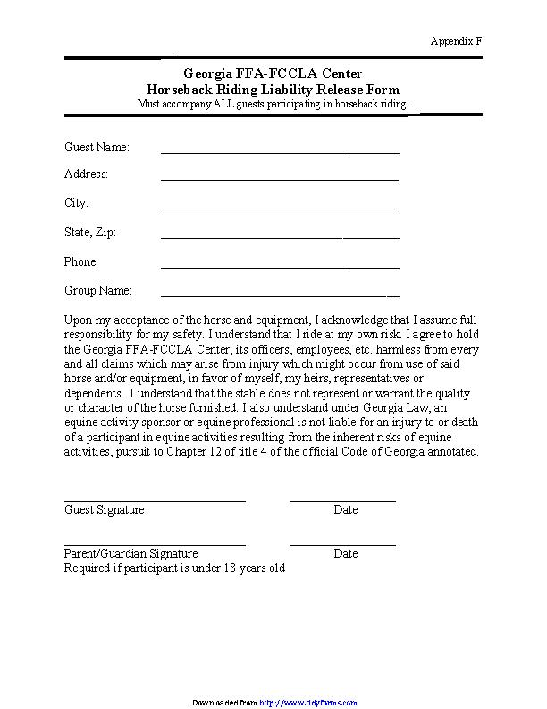 Georgia Horseback Riding Liability Release Form