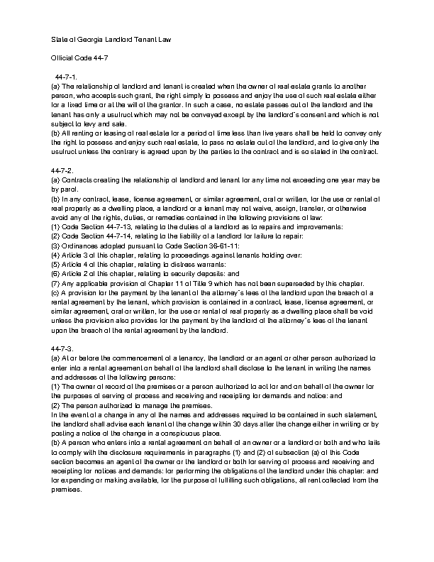 Georgia Landlord Tenant Law 44 7