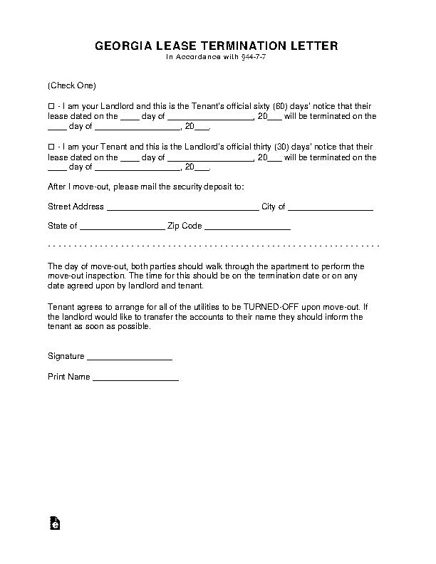 Georgia Lease Termination Letter Form