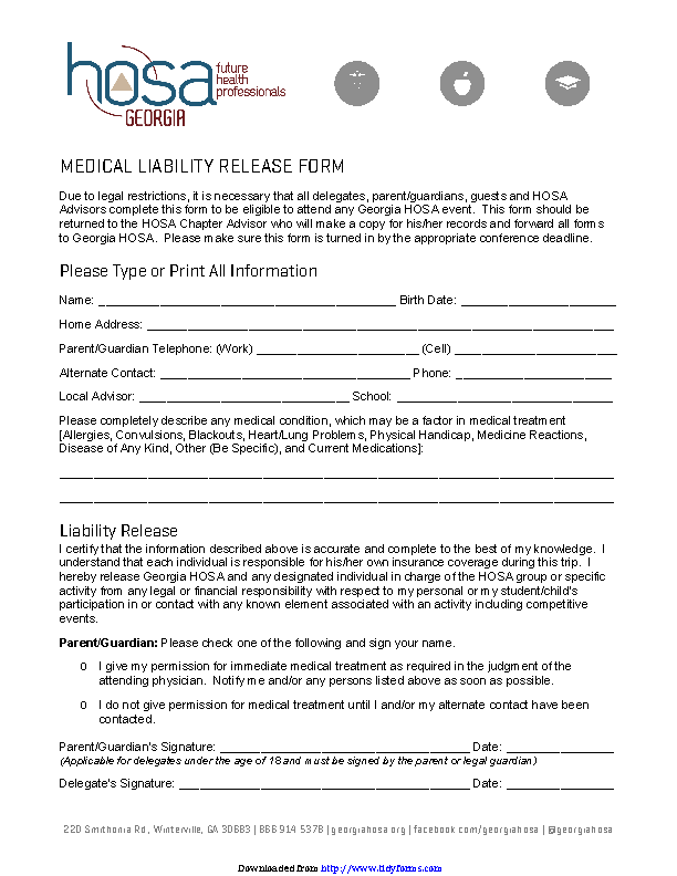 Georgia Liability Release Form 1