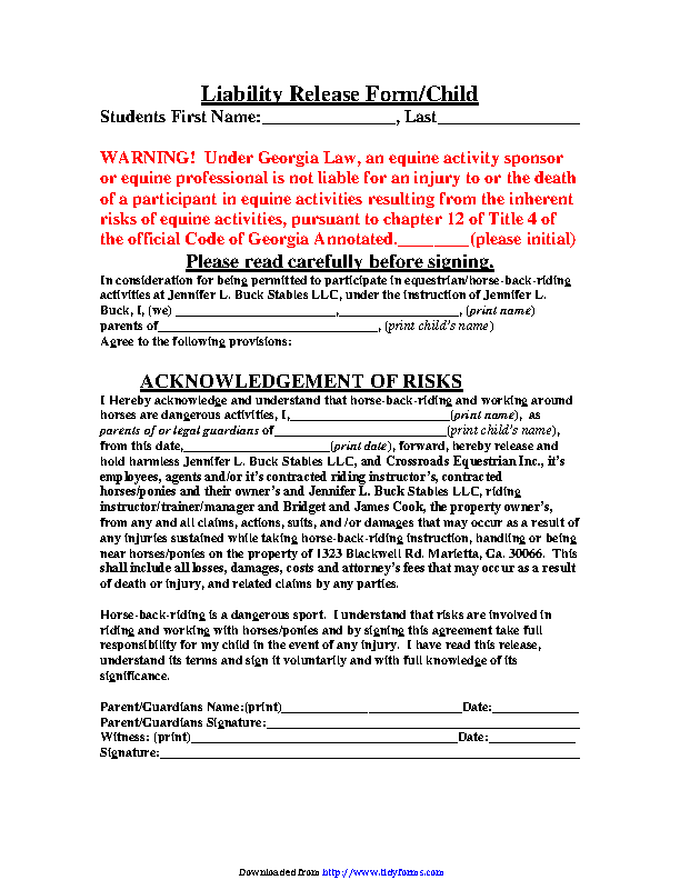 Georgia Liability Release Form For Child