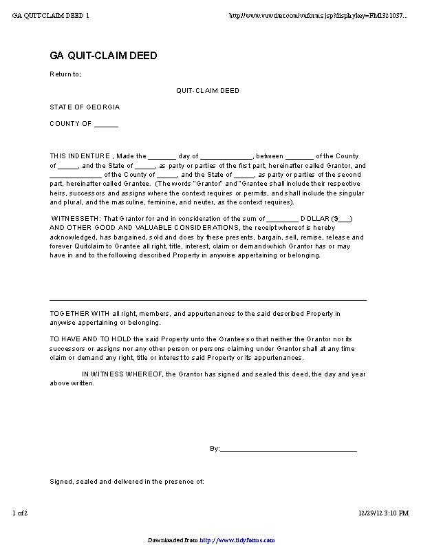 Georgia Quitclaim Deed Form 2