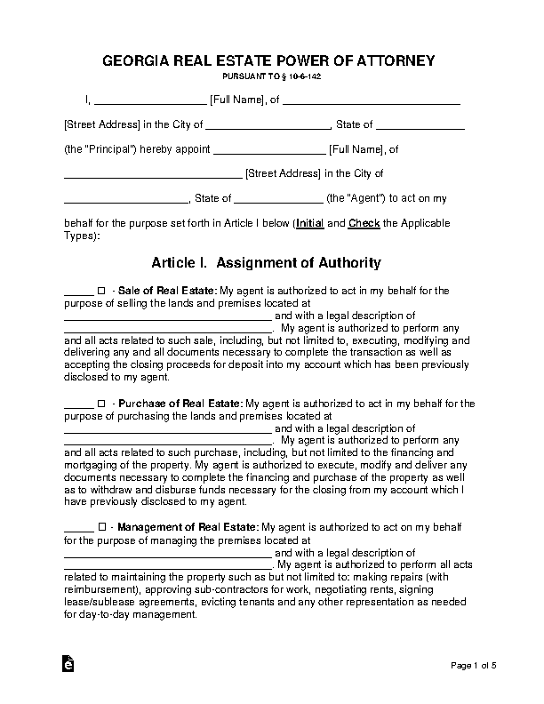 Georgia Real Estate Power Of Attorney Form