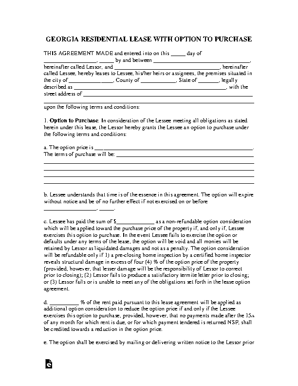 Georgia Residential Lease With Option To Purchase Agreement