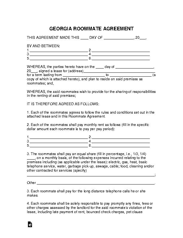 Georgia Roommate Agreement Template