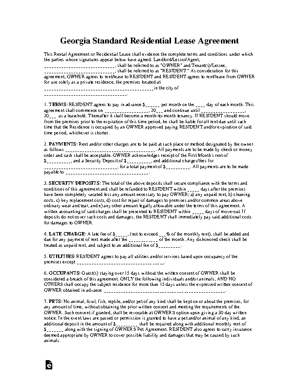 Georgia Standard Residential Lease Agreement
