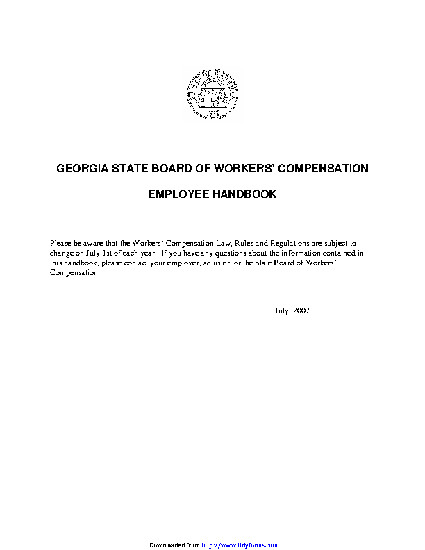 Georgia State Board Of Workers Compensation Employee Handbook