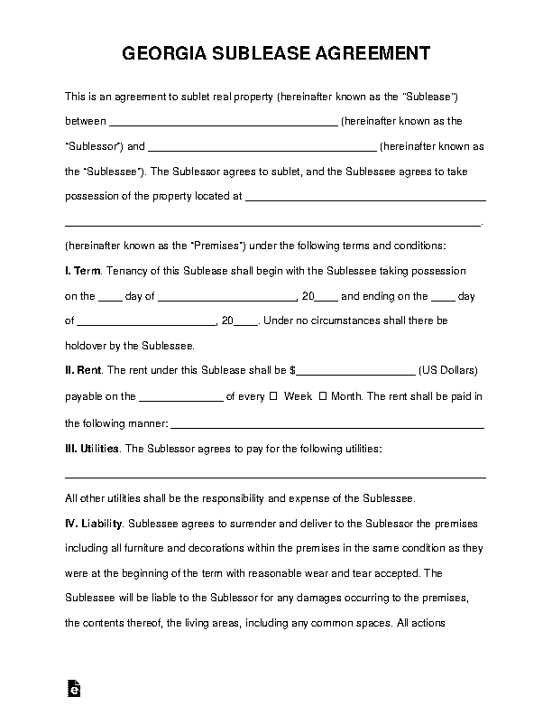 Georgia Sublease Agreement Template