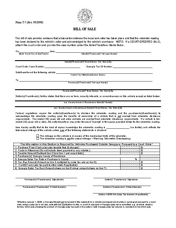 Georgia Vehicle Bill Of Sale Form T7