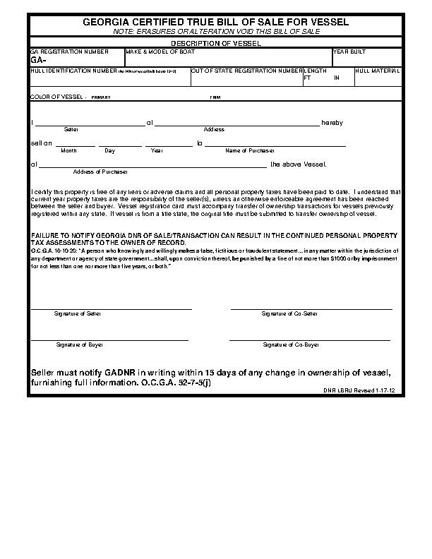 Georgia Vessel Bill Of Sale Form