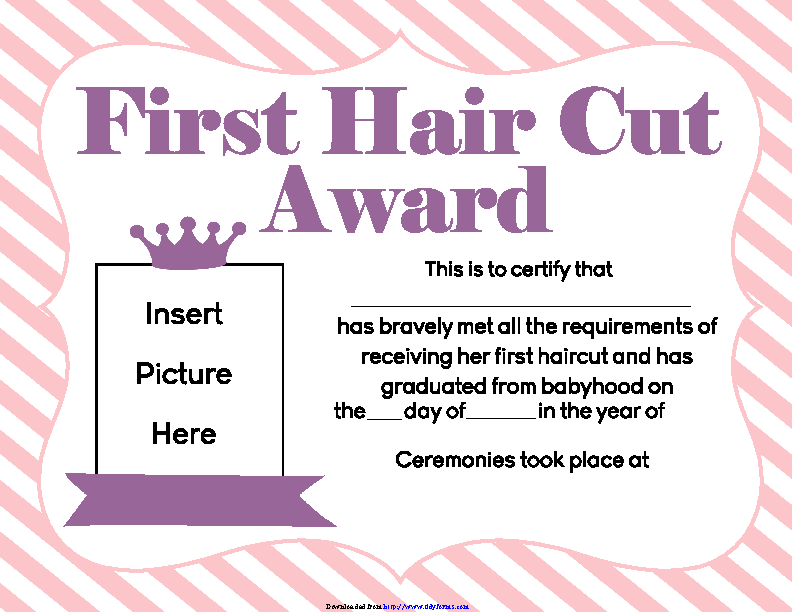 Girls First Hair Cut Award Printable