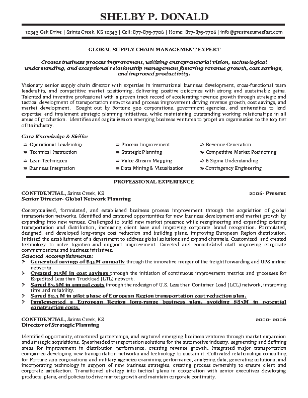 Global Supply Chain Manager Resume