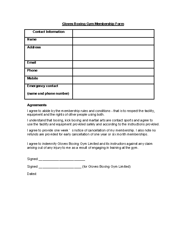 Gloves Boxing Gym Membership Form Contract Template Download