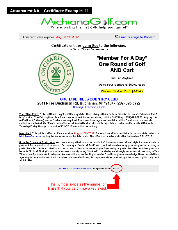 Golf Certificate Example