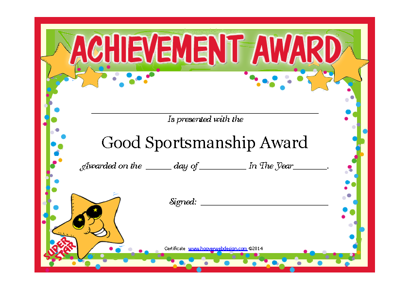 Good Sportsmanship Certificate