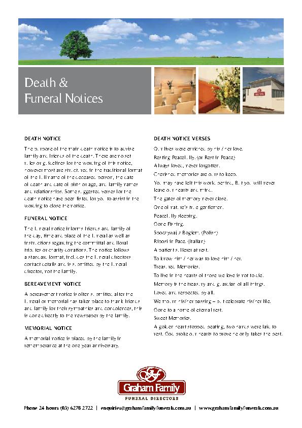 Grahams Death Notice