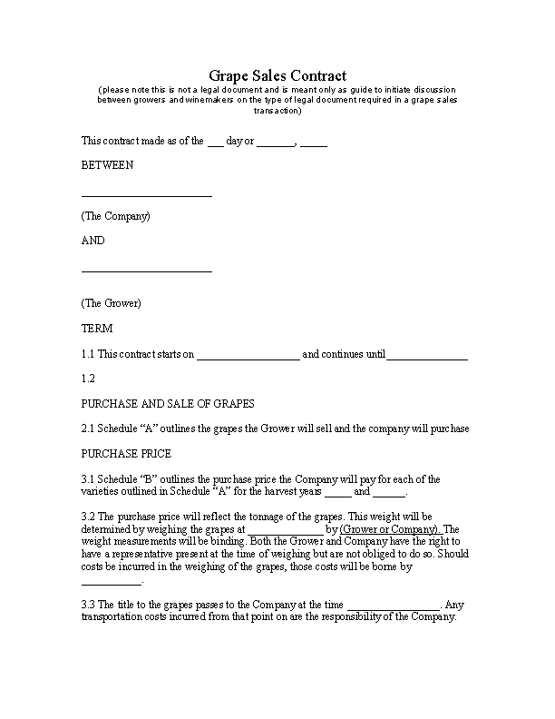 Grape Sales Contract Template