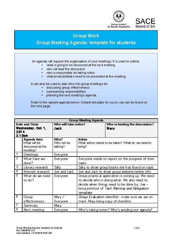 Group Meeting Agenda Template