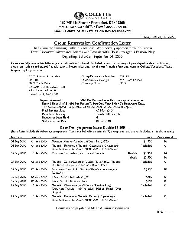 Group Reservation Confirmation Letter