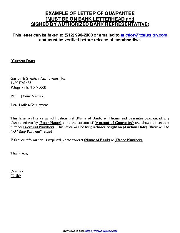 Guarantee Letter Sample 1