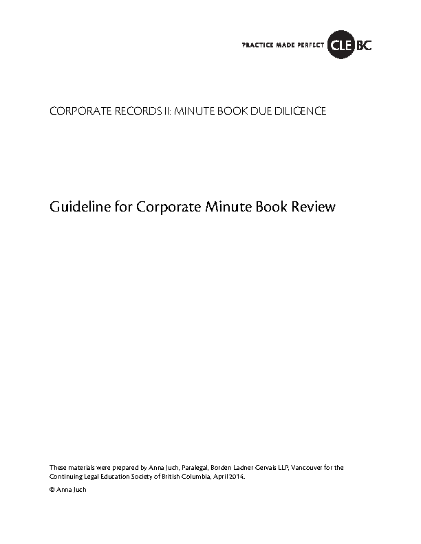 Guidelines For Corporate Minutes