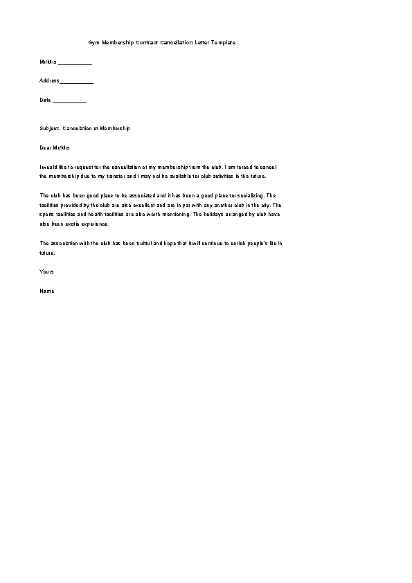 Gym Membership Contract Cancellation Letter Template Word Format