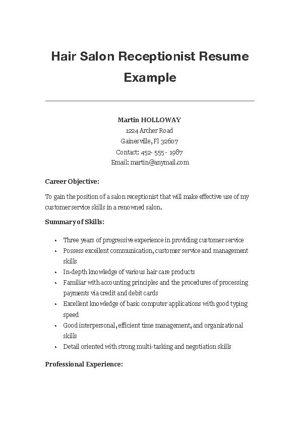 Hair Salon Receptionist Resume Example Pdfsimpli