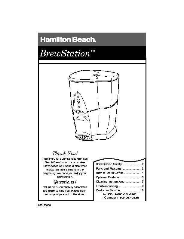 Hamilton Beach Instruction Manual Sample