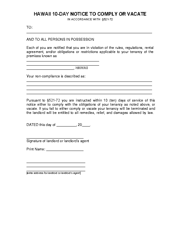Hawaii 10 Day Notice To Comply Eviction Form