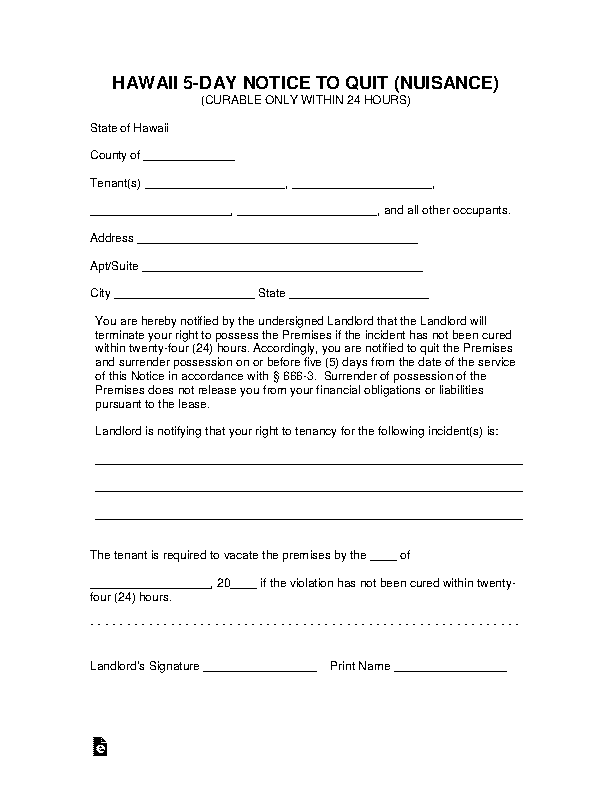 Hawaii 5 Day Notice To Quit Nuisance Form