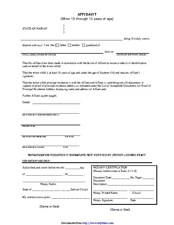 Hawaii Affidavit For Parental Consent Form