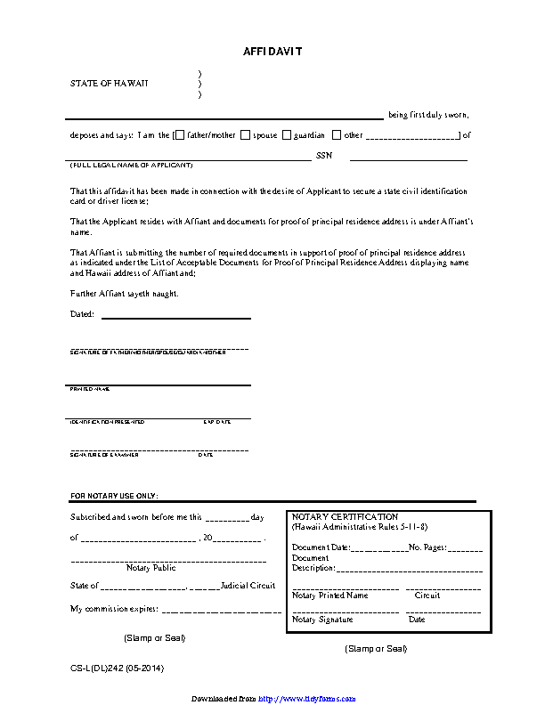 Hawaii Affidavit For Proof Of Residence Form