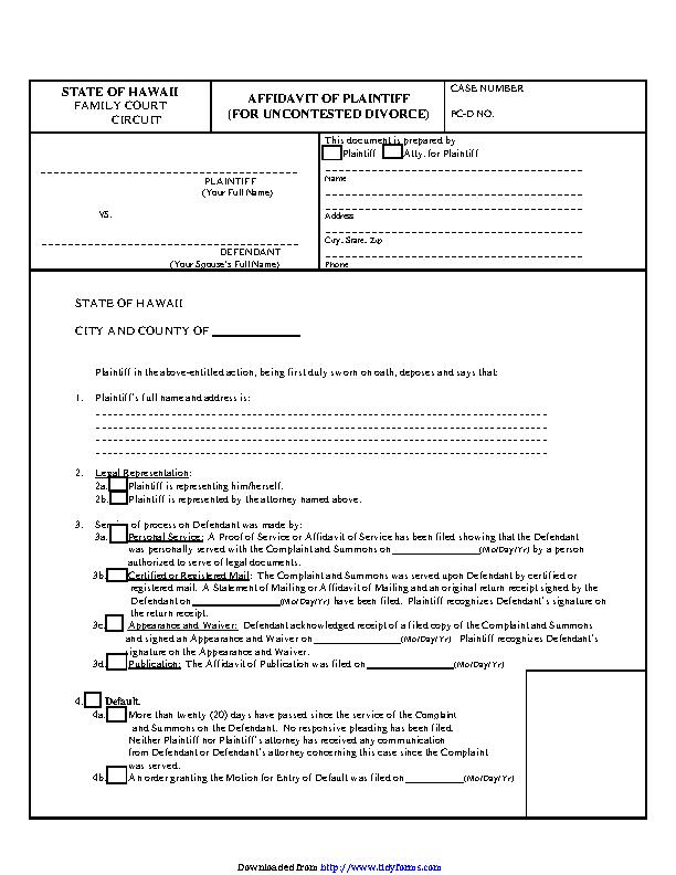 Hawaii Affidavit Of Plaintiff For Uncontested Divorce Form