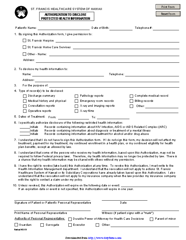 Hawaii Authorization To Disclose Protected Health Information Form