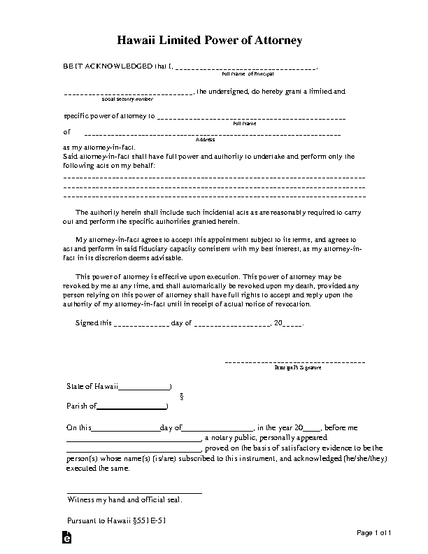 Hawaii Limited Power Of Attorney Form
