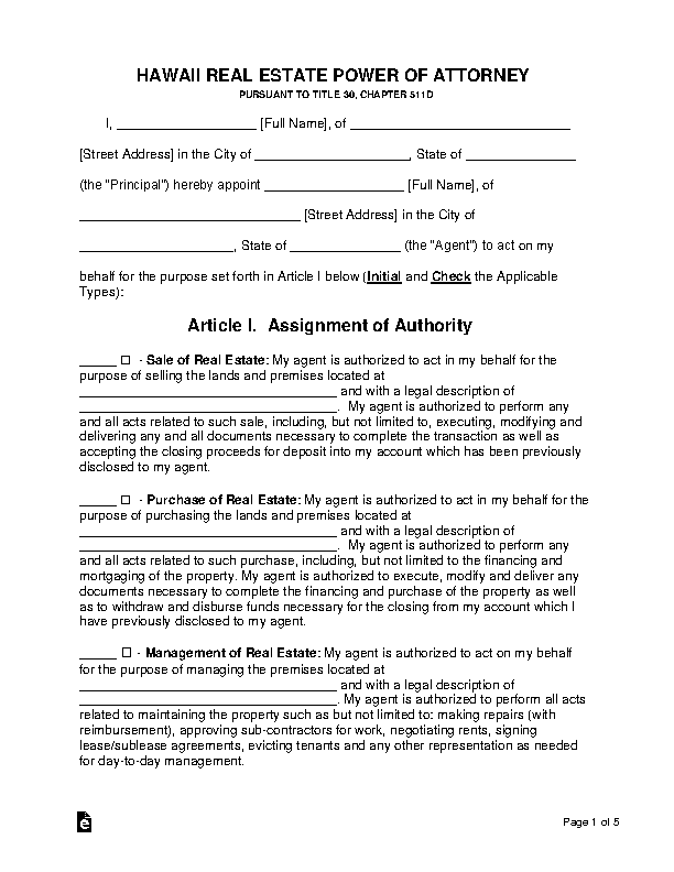 Hawaii Real Estate Power Of Attorney Form