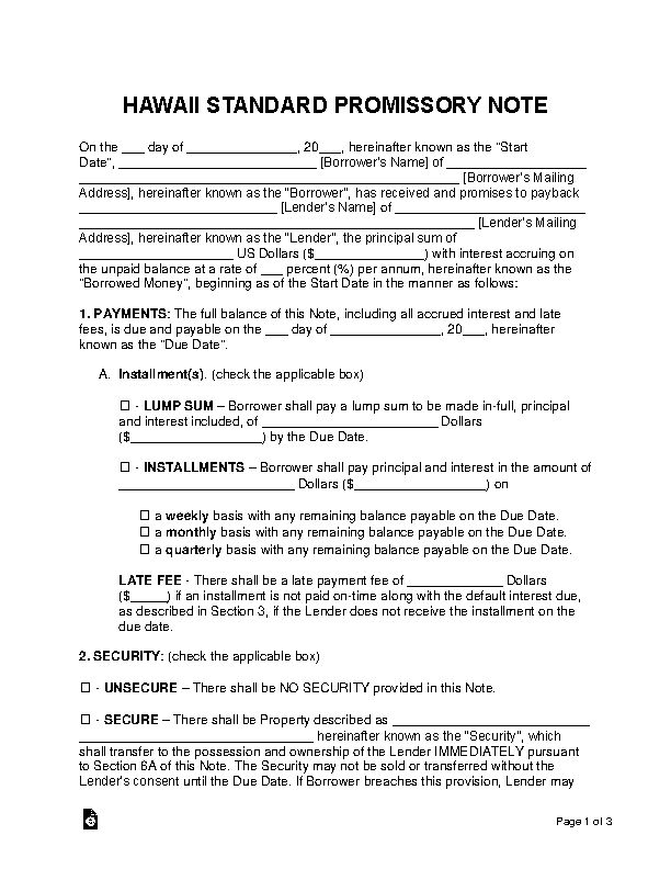 Hawaii Standard Promissory Note Template