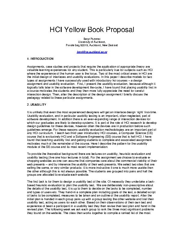 Hci Yellow Book Proposal
