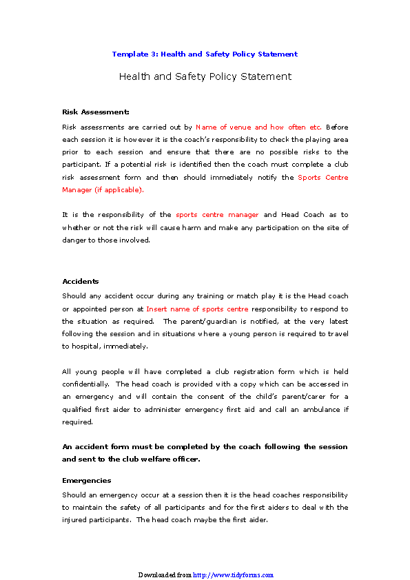 Health And Safety Policy Statement 2