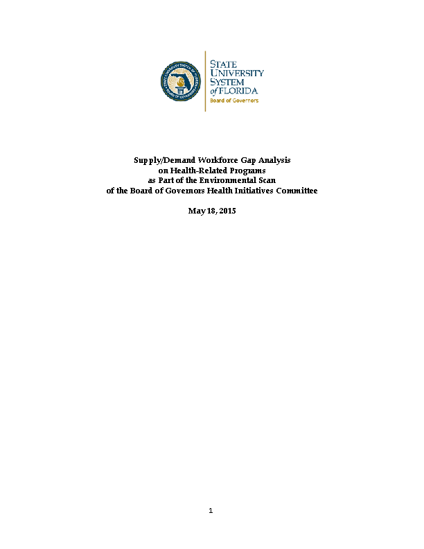 Health Care Gap Analysis Report