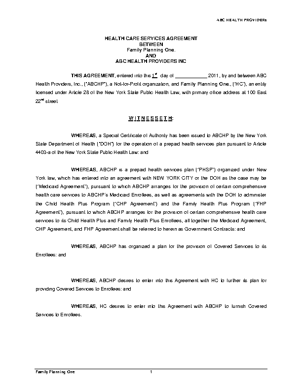 Health Care Services Agreement